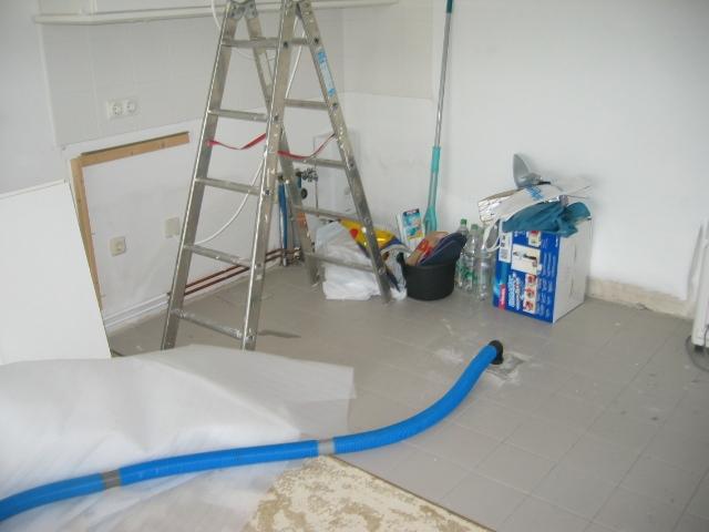 Gebäudetrocknung nach Leitungswasserschaden, Niebüll, Schaden ca. EUR 10.000,-